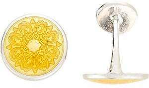 Barneys New York Men's Floral-Engraved Cufflinks - Yellow