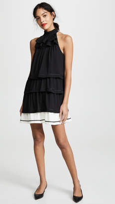 Halston Sleeveless Mock Neck Tier Dress