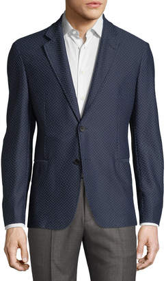 Giorgio Armani Waffled Herringbone Two-Button Blazer