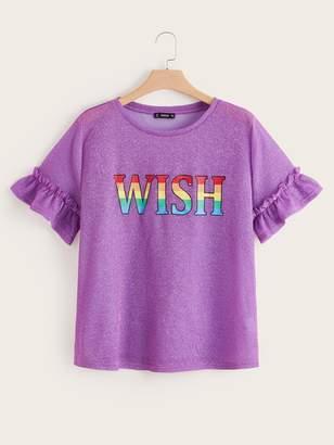 Shein Plus Rainbow Letter Print Ruffle Cuff Glitter Top