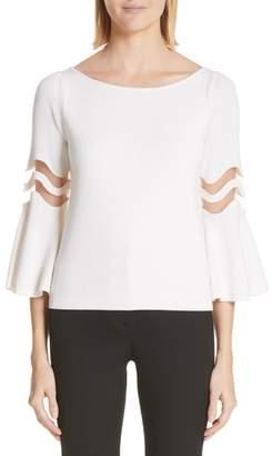 Oscar de la Renta Illusion Knit Flutter Sleeve Sweater