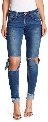 One Teaspoon Hoodlums Frayed Hem Skinny Jeans