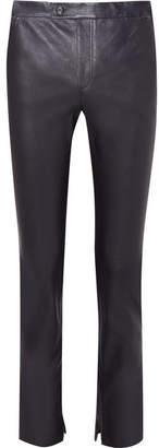 Helmut Lang Leather Slim-leg Pants - Navy