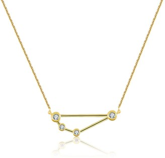 Genevieve Collection Capricorn Zodiac Constellation Necklace 18K Yellow Gold & Diamond