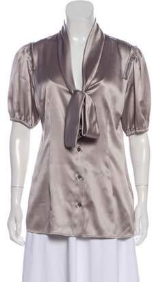 Dolce & Gabbana Silk Short Sleeve Top Grey Silk Short Sleeve Top