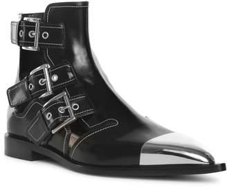 8f7dea88d32d Alexander McQueen Black leather cage ankle boots