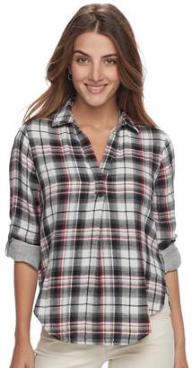 Sonoma Goods For Life Petite SONOMA Goods for Life Plaid Splitneck Shirt