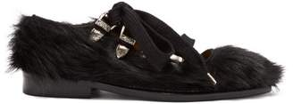 Toga Faux Fur Point Toe Flats - Womens - Black
