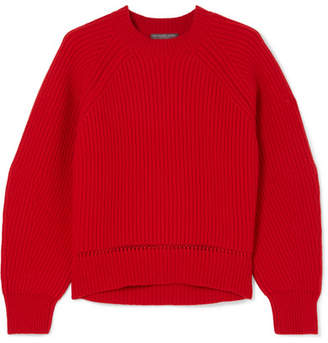 Alexander McQueen Pointelle-trimmed Ribbed Wool And Cashmere-blend Sweater - Red