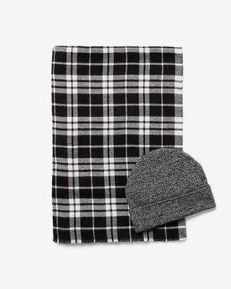 Express Plaid Scarf And Beanie Gift Set