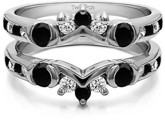 TwoBirch Half Halo Classic Style Ring Guard in Sterling Silver (1ctw)