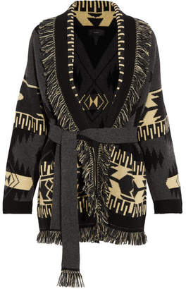 Alanui - Fringed Jacquard-knit Cashmere Cardigan - Gray