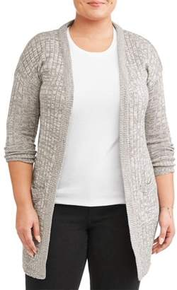 What's Next? Women's Plus Size Marled Long Cardigan