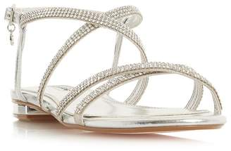 Dune - Silver Leather 'Neve' Ankle Strap Sandals