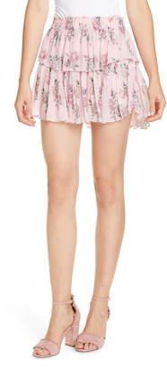 LoveShackFancy Ruffle Floral Silk Miniskirt