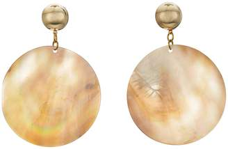 Kenneth Jay Lane Round Wavy Shell Disc Pierced Earrings Earring