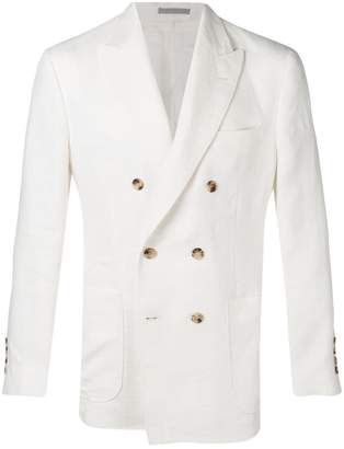 Brunello Cucinelli double breasted linen blazer