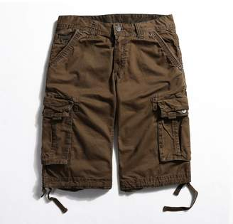 3.1 Phillip Lim BUAAM Men's Pure Cotton Loose Fit Multi Pockets Cargo Shorts Coffee