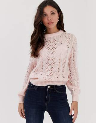 Brave Soul lightweight pointelle sweater with balloon sleeve in pastel pink