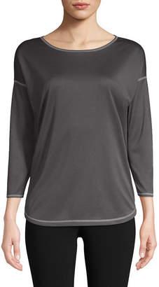 ST. JOHN'S BAY SJB ACTIVE Active 3/4 Sleeve Boat Neck T-Shirt-Womens