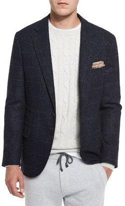 Brunello Cucinelli Boucle Plaid Two-Button Sport Jacket, Cobalt $3,775 thestylecure.com