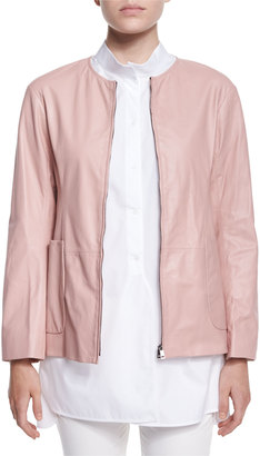 Jil Sander Reversible Nylon/Leather Jacket $928 thestylecure.com