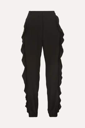 Sonia Rykiel Ruffled Silk Crepe De Chine Slim-leg Pants - Black