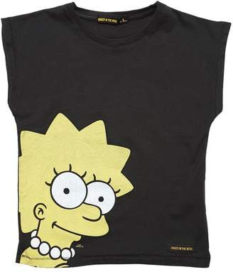 Finger In The Nose Lisa Simpson Print Cotton Jersey T-Shirt