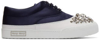 Miu Miu Navy Satin and Crystal Sneakers