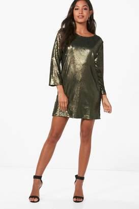 boohoo Boutique Sequin Open Back Shift Dress