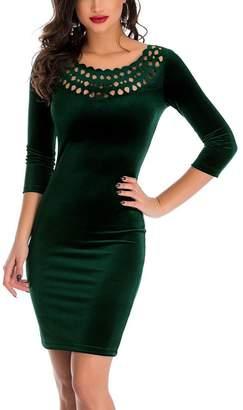 Liran Women's Hollow Out Round Neck Velvet Vantage Slim Fitted Midi Party Dress