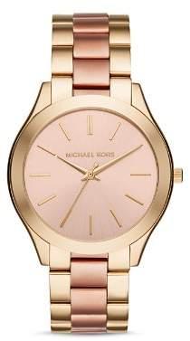 Michael Kors Slim Runway Two-Tone Watch, 42mm