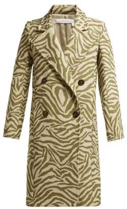 See by Chloe Tiger Print Wool Blend Coat - Womens - Beige Multi