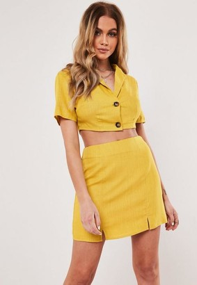 Missguided Yellow Co Ord Linen Blend Tortoise Shell Button Cropped Shirt
