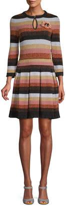 Fendi Striped Wool Midi Dress