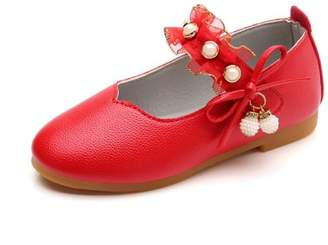 KpopBaby Children Girls Fasion Solid Leather Bowknot Pearl Pendant Princess Single Casual Shoes