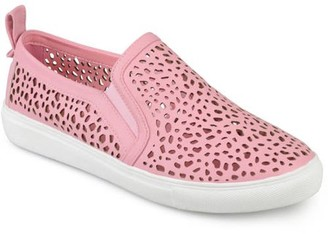 Co Brinley Womens Faux Leather Slip-on Laser-cut Sneakers