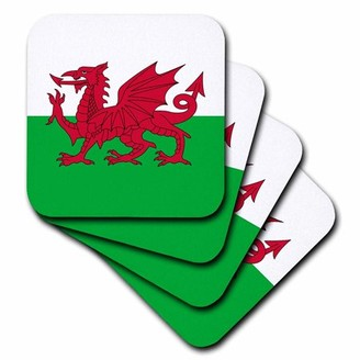 Dragon Optical 3dRose Flag of Wales - Welsh red on white and green - Y Ddraig Goch UK United Kingdom Great Britain, Soft Coasters, set of 4