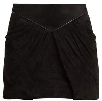 Saint Laurent Pleat Detail Suede Mini Skirt - Womens - Black