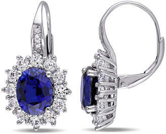 FINE JEWELRY Diamond Accent Lab Created Blue Sapphire Sterling Silver Drop Earrings