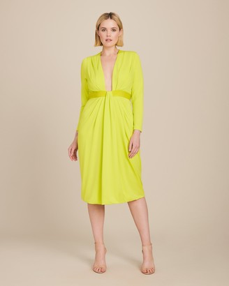 Cushnie Plunging Long Sleeved Dress