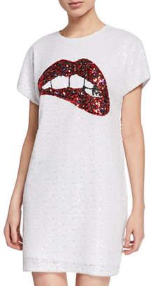 Aidan Mattox Sequin Short-Sleeve Biting Lips Cocktail Dress