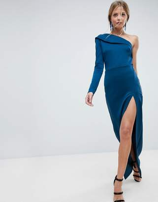 Asos DESIGN One Shoulder Long Sleeve Thigh Split Maxi Dress