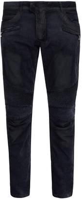 Balmain Slim-leg crushed-velvet biker jeans