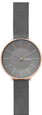Skagen SKW689 Women's Karolina Mesh Bracelet Strap Watch, Rose Gold/Dark Grey