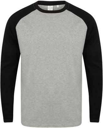 Skinni Fit Skinnifit Mens Raglan Long Sleeve Baseball T-Shirt (L) (Heather Grey / Black)