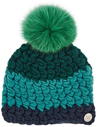 Mischa Lampert Women's Deep Colorblocked Wool Beanie - Blue