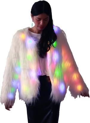 Ohlees® Led Light Up Shining Christmas Party Women Girls Winter Long Fur Coat Perform Dance (S, )