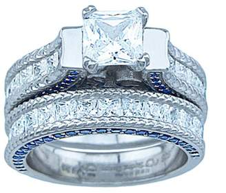 Celestina Plutus Brands 7.75 Carat T.G.W. CZ High-Polish Sterling Silver Princess-Cut and Blue Stone Accent Engagement Style Ring Set