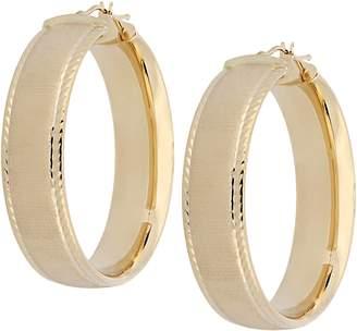 Arte D'oro Arte d'Oro Satin & Diamond Cut Hoop Earrings, 18K